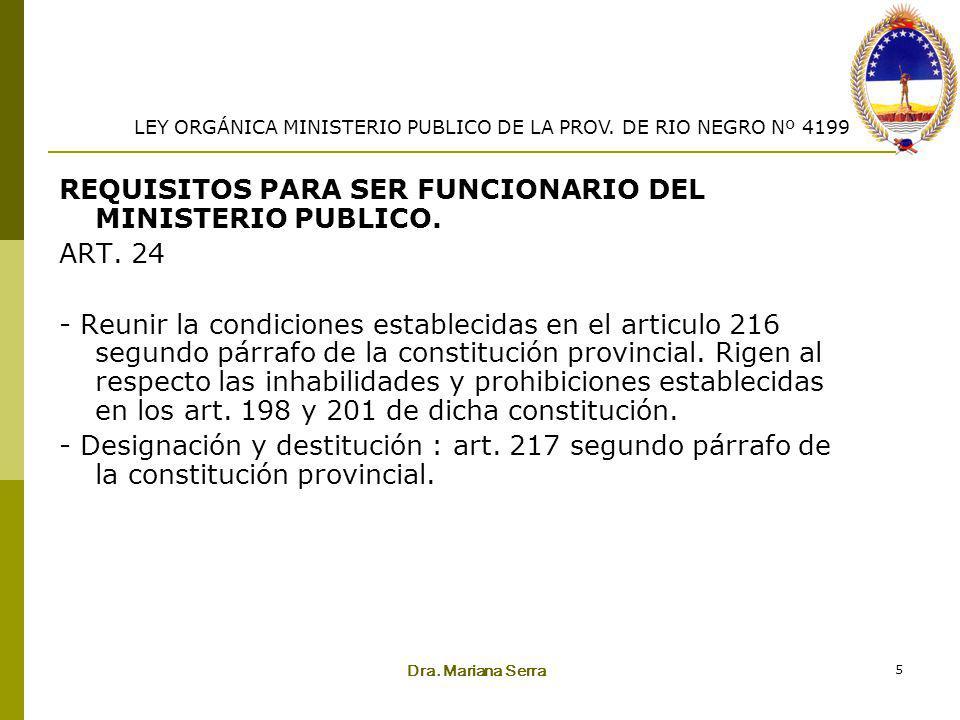 Dra. Mariana Serra 5 REQUISITOS PARA SER FUNCIONARIO DEL MINISTERIO PUBLICO. ART. 24 - Reunir la condiciones establecidas en el articulo 216 segundo p