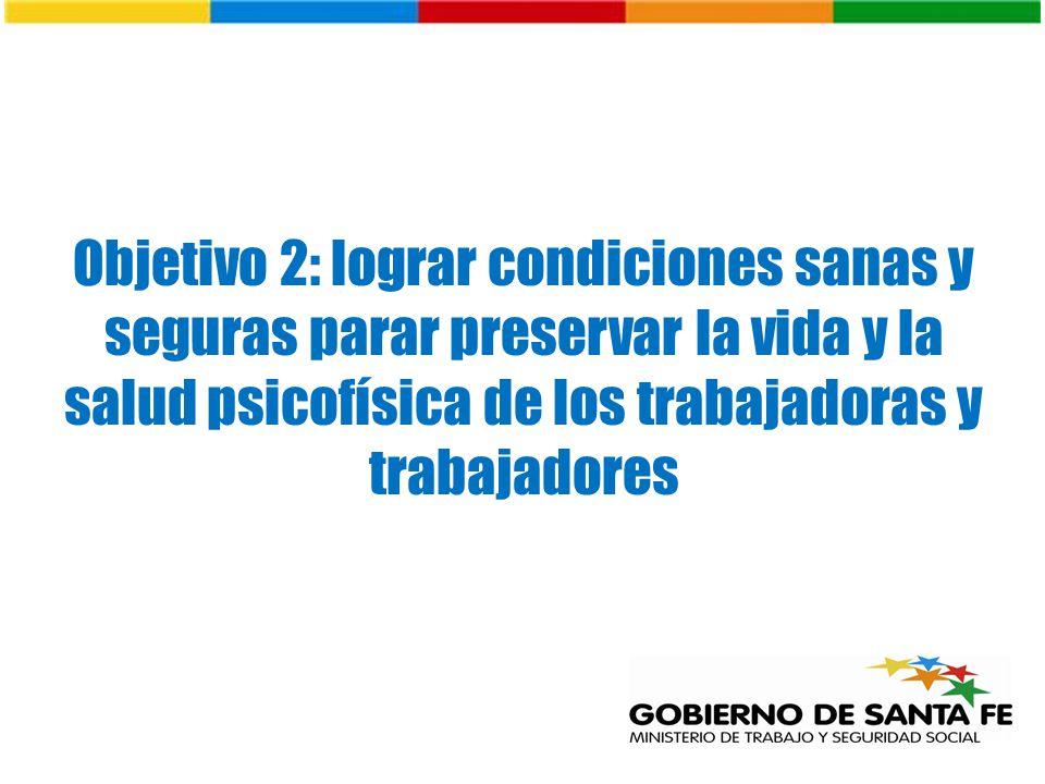 Objetivo 2: lograr condiciones sanas y seguras parar preservar la vida y la salud psicofísica de los trabajadoras y trabajadores
