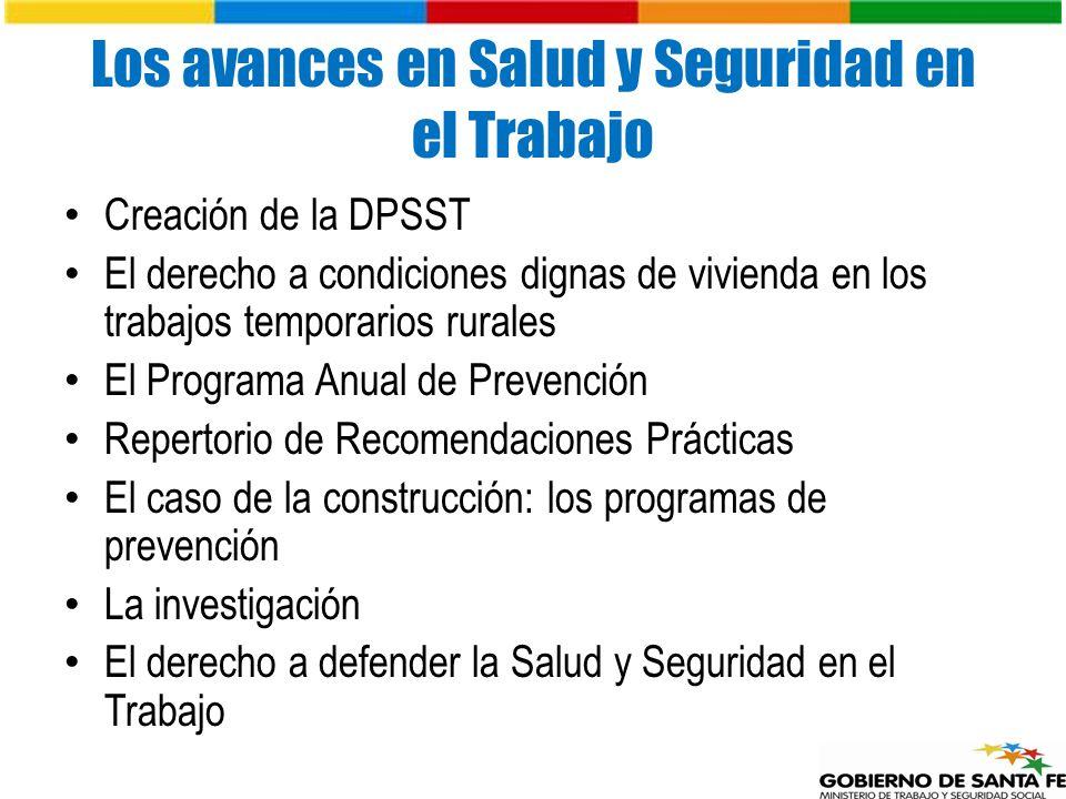 Los avances en Salud y Seguridad en el Trabajo Creación de la DPSST El derecho a condiciones dignas de vivienda en los trabajos temporarios rurales El