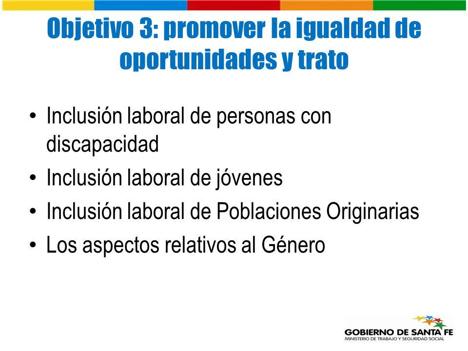 Objetivo 3: promover la igualdad de oportunidades y trato Inclusión laboral de personas con discapacidad Inclusión laboral de jóvenes Inclusión laboral de Poblaciones Originarias Los aspectos relativos al Género