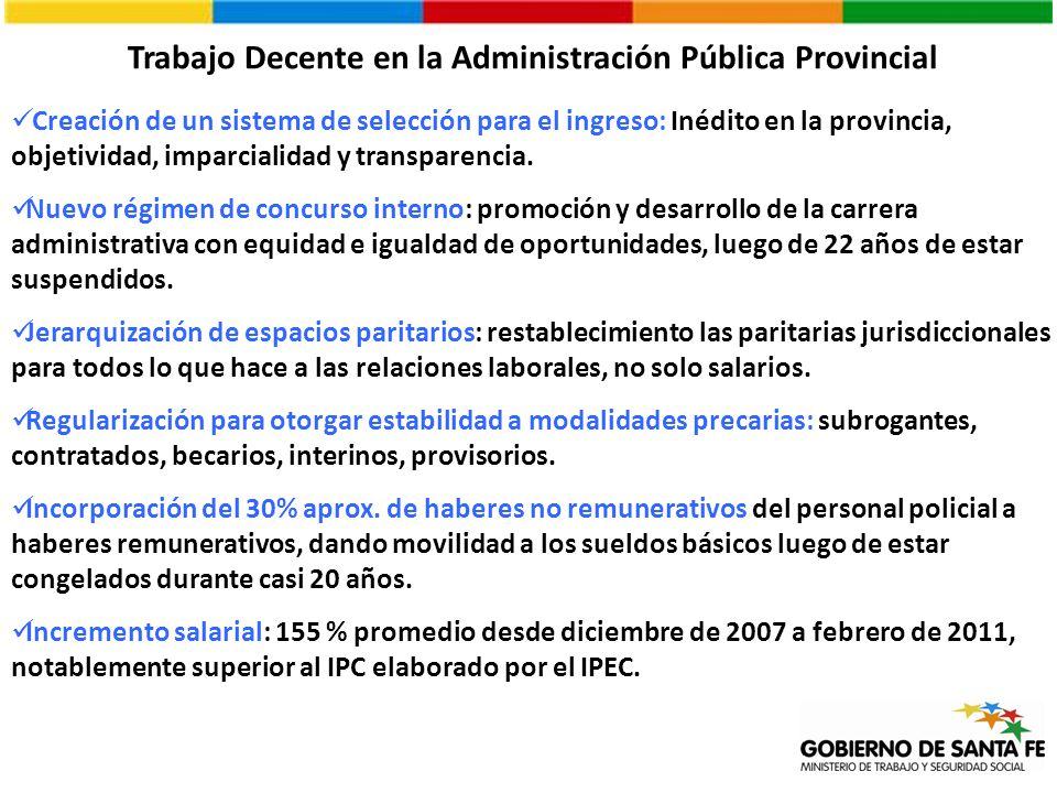 Trabajo Decente en la Administración Pública Provincial Creación de un sistema de selección para el ingreso: Inédito en la provincia, objetividad, imp