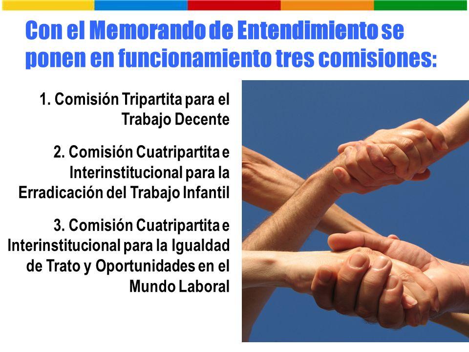 Con el Memorando de Entendimiento se ponen en funcionamiento tres comisiones: 1. Comisión Tripartita para el Trabajo Decente 2. Comisión Cuatripartita