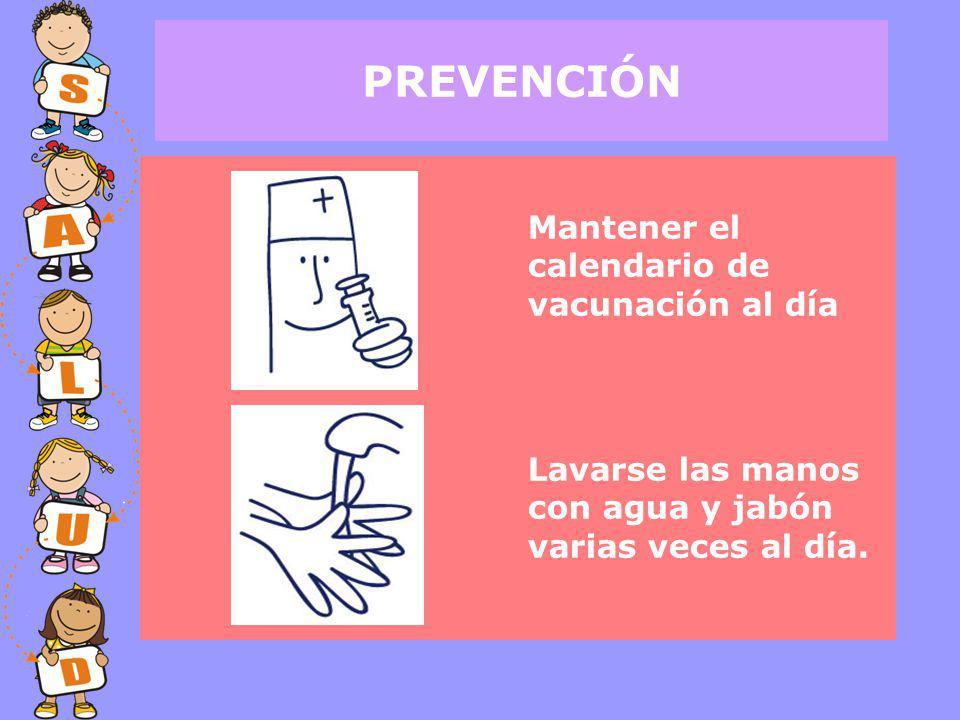 PREVENCIÓN Mantener el calendario de vacunación al día Lavarse las manos con agua y jabón varias veces al día.