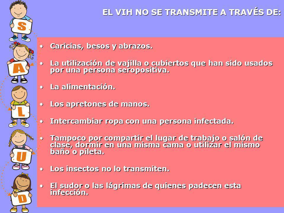 EL VIH NO SE TRANSMITE A TRAVÉS DE: Caricias, besos y abrazos.Caricias, besos y abrazos.