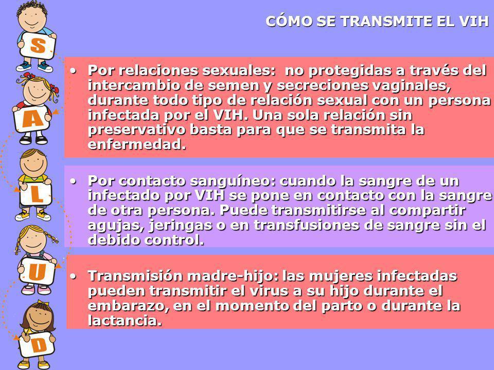 CÓMO SE TRANSMITE EL VIH Por relaciones sexuales: no protegidas a través del intercambio de semen y secreciones vaginales, durante todo tipo de relación sexual con un persona infectada por el VIH.