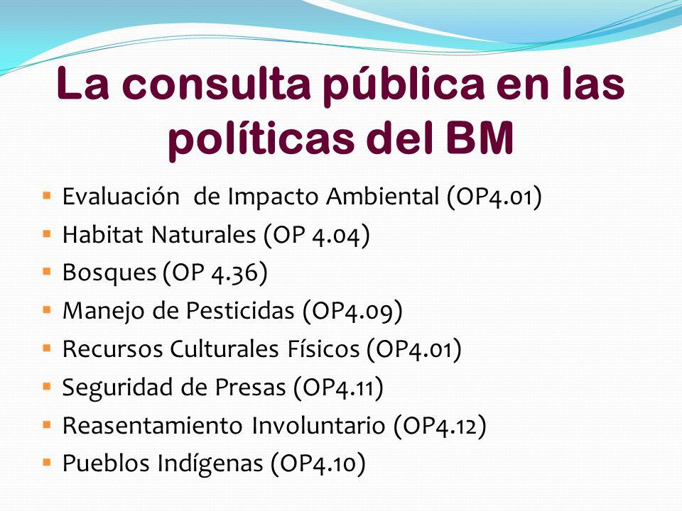 La consulta pública en las políticas del BM Evaluación de Impacto Ambiental (OP4.01) Habitat Naturales (OP 4.04) Bosques (OP 4.36) Manejo de Pesticidas (OP4.09) Recursos Culturales Físicos (OP4.01) Seguridad de Presas (OP4.11) Reasentamiento Involuntario (OP4.12) Pueblos Indígenas (OP4.10)