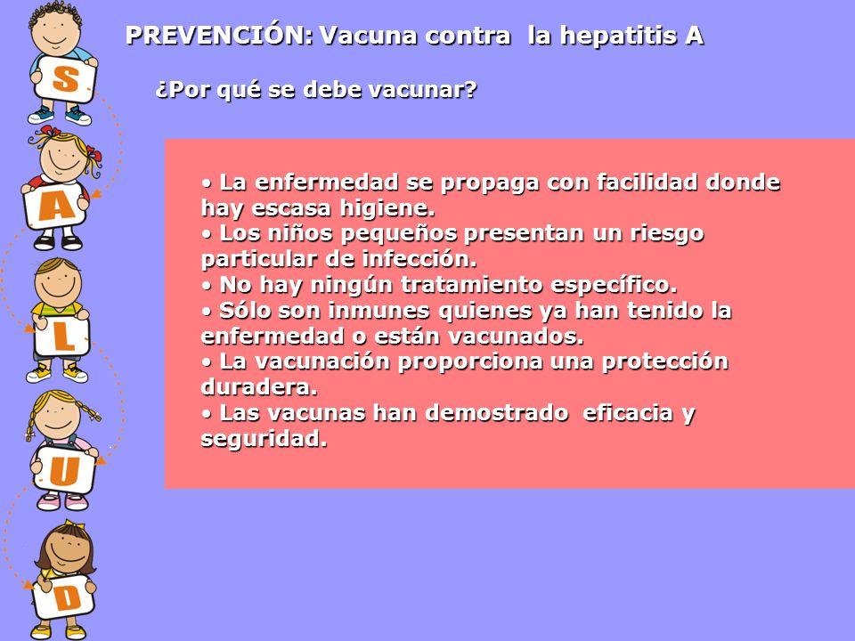 PREVENCIÓN: Vacuna contra la hepatitis A La enfermedad se propaga con facilidad donde hay escasa higiene. La enfermedad se propaga con facilidad donde
