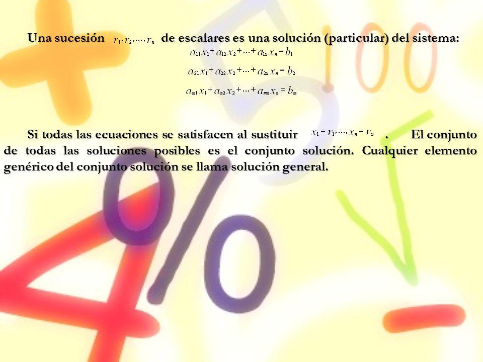Una sucesión de escalares es una solución (particular) del sistema: Si todas las ecuaciones se satisfacen al sustituir. El conjunto de todas las soluc