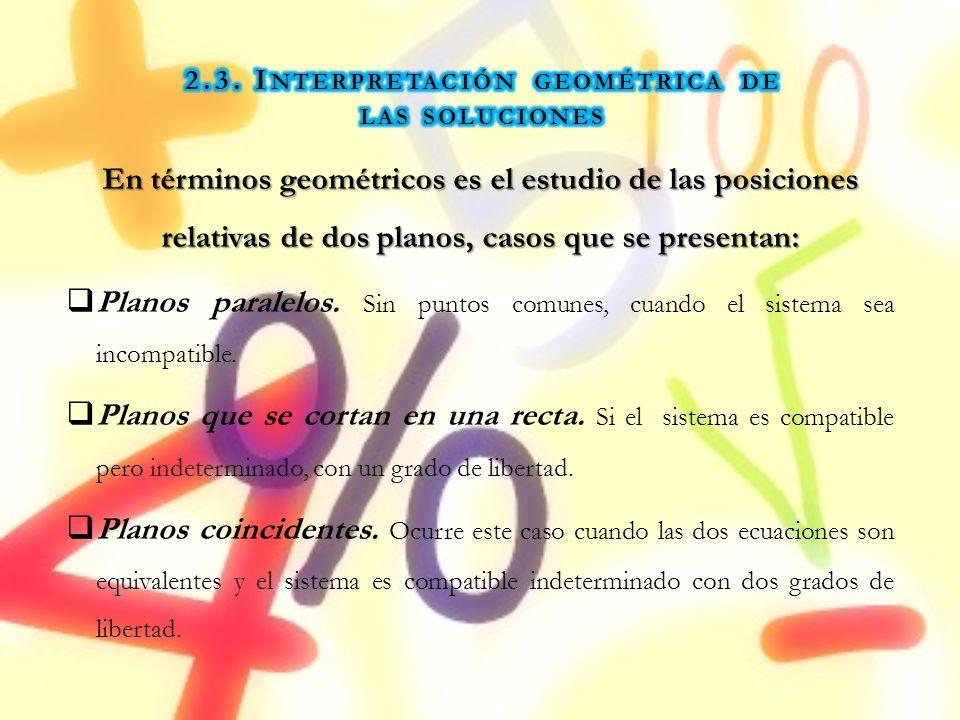 En términos geométricos es el estudio de las posiciones relativas de dos planos, casos que se presentan: Planos paralelos. Sin puntos comunes, cuando