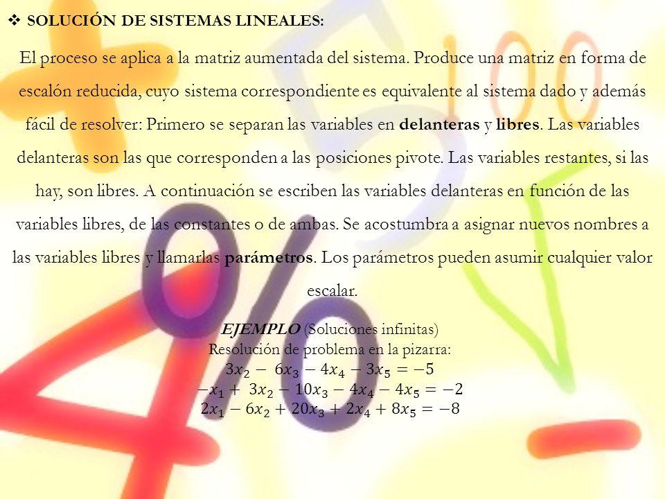 SOLUCIÓN DE SISTEMAS LINEALES: El proceso se aplica a la matriz aumentada del sistema. Produce una matriz en forma de escalón reducida, cuyo sistema c