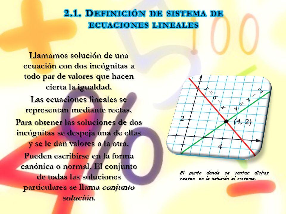 Llamamos solución de una ecuación con dos incógnitas a todo par de valores que hacen cierta la igualdad. Las ecuaciones lineales se representan median