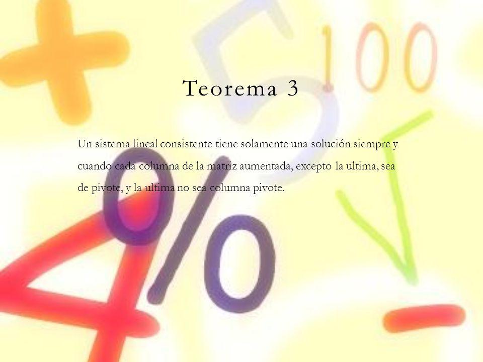 Teorema 3 Un sistema lineal consistente tiene solamente una solución siempre y cuando cada columna de la matriz aumentada, excepto la ultima, sea de p