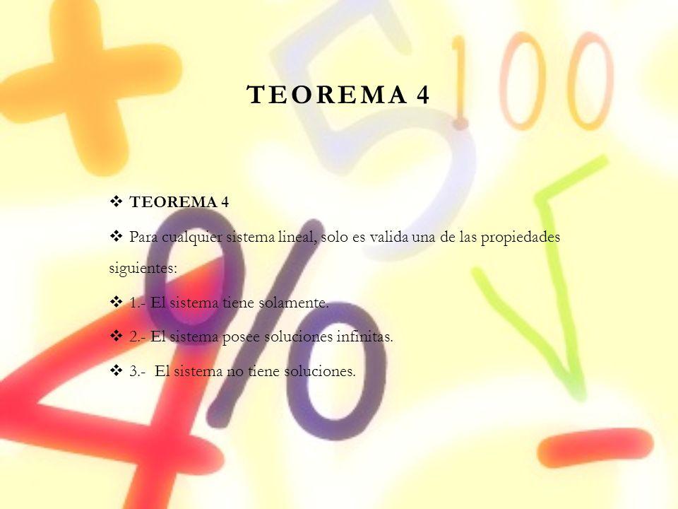 TEOREMA 4 Para cualquier sistema lineal, solo es valida una de las propiedades siguientes: 1.- El sistema tiene solamente. 2.- El sistema posee soluci
