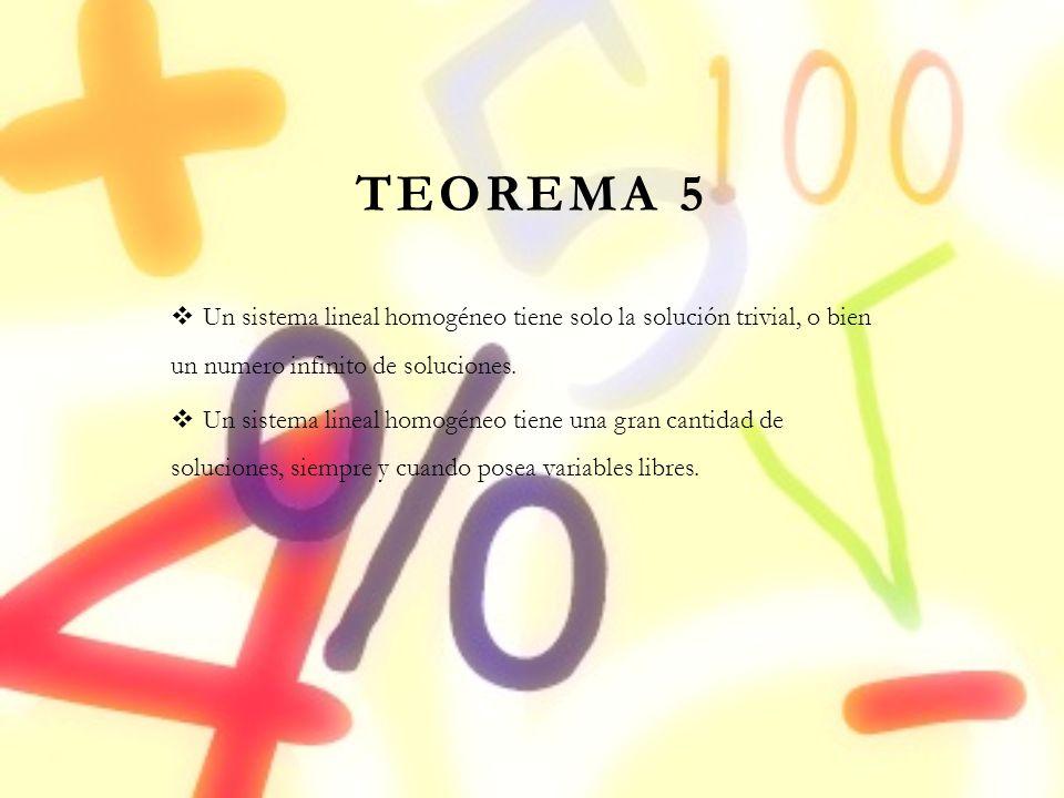 TEOREMA 5 Un sistema lineal homogéneo tiene solo la solución trivial, o bien un numero infinito de soluciones. Un sistema lineal homogéneo tiene una g