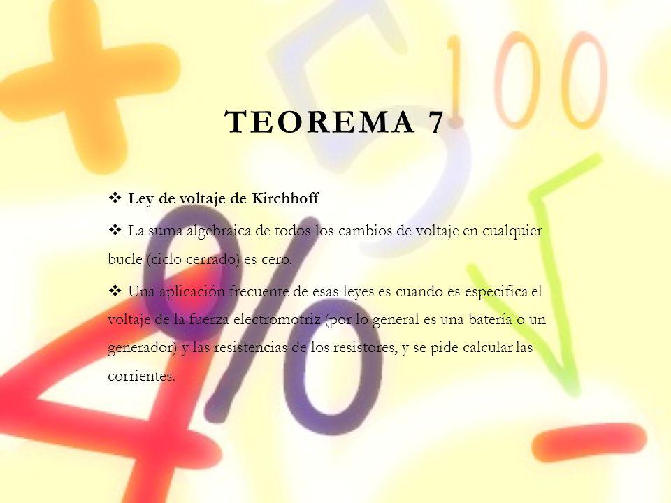 TEOREMA 7 Ley de voltaje de Kirchhoff La suma algebraica de todos los cambios de voltaje en cualquier bucle (ciclo cerrado) es cero. Una aplicación fr