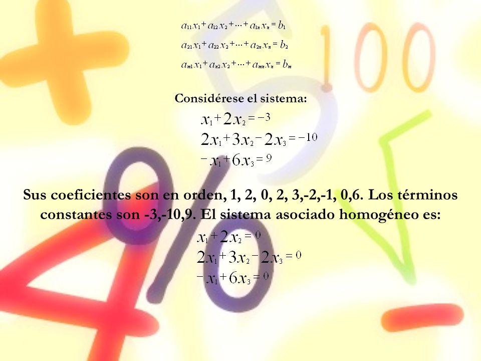Considérese el sistema: Sus coeficientes son en orden, 1, 2, 0, 2, 3,-2,-1, 0,6. Los términos constantes son -3,-10,9. El sistema asociado homogéneo e