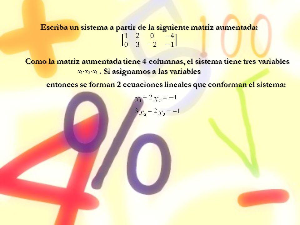 Como la matriz aumentada tiene 4 columnas, el sistema tiene tres variables. Si asignamos a las variables entonces se forman 2 ecuaciones lineales que