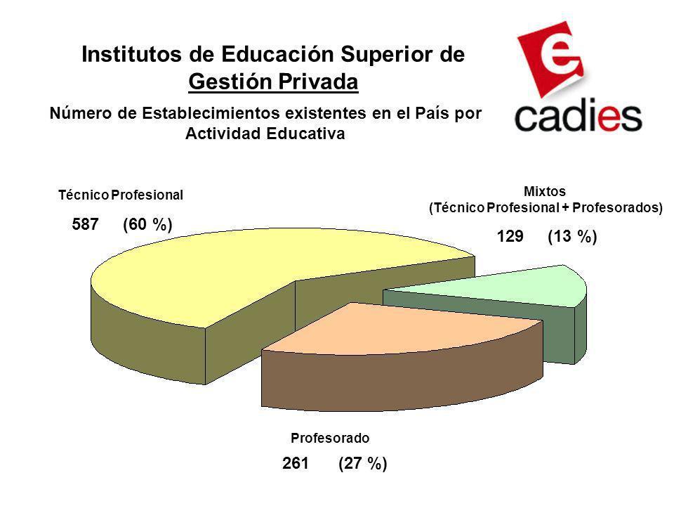 Profesorado 587 (60 %) 129 (13 %) 261 (27 %) Técnico Profesional Mixtos (Técnico Profesional + Profesorados) Número de Establecimientos existentes en