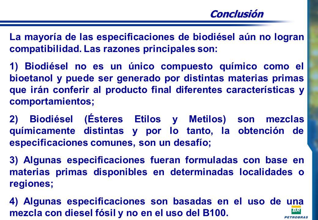 Conclusión La mayoría de las especificaciones de biodiésel aún no logran compatibilidad.