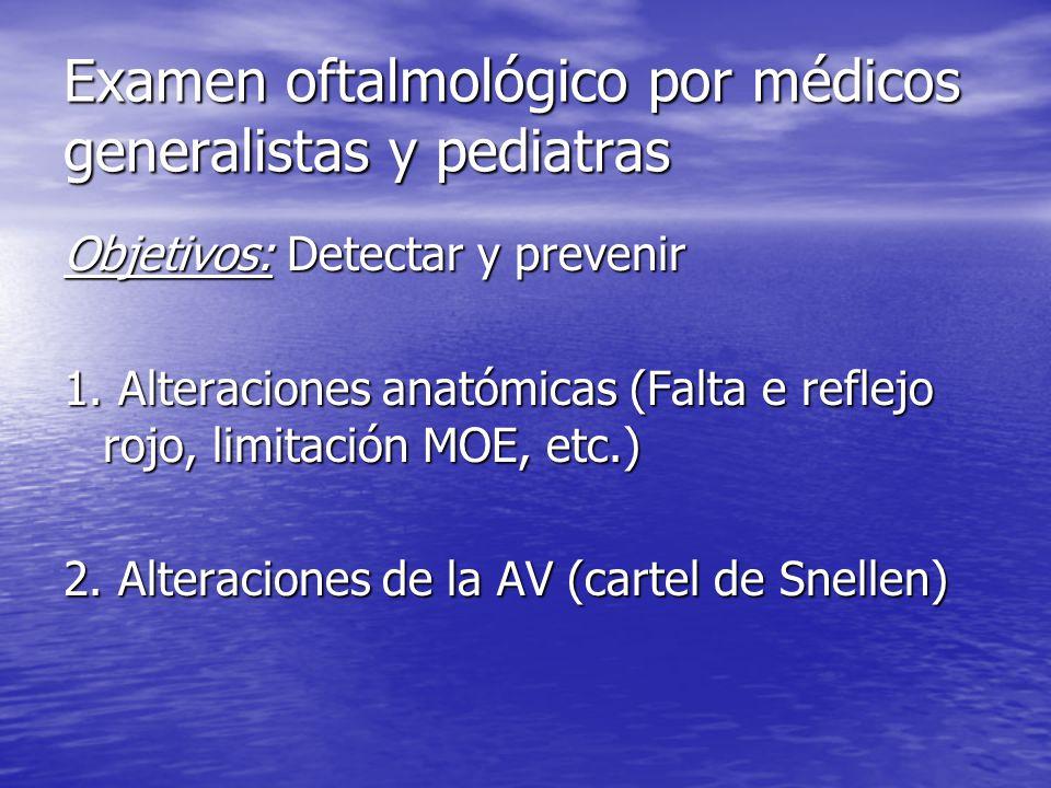 Examen oftalmológico por médicos generalistas y pediatras Objetivos: Detectar y prevenir 1.