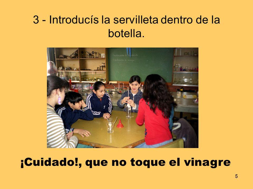 5 3 - Introducís la servilleta dentro de la botella. ¡Cuidado!, que no toque el vinagre
