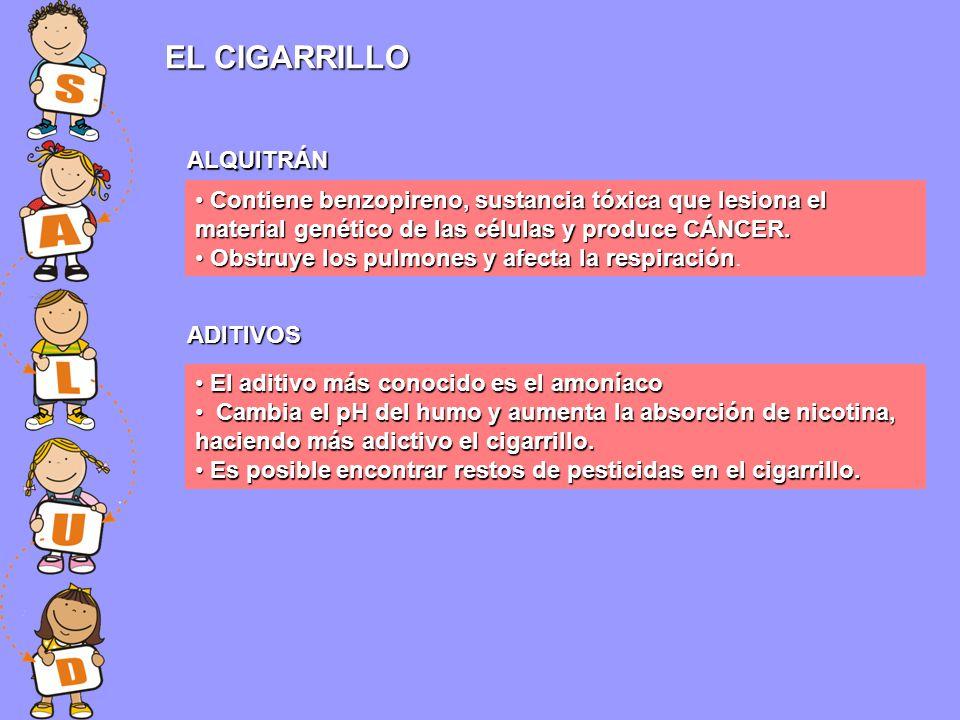 EL CIGARRILLO Contiene benzopireno, sustancia tóxica que lesiona el material genético de las células y produce CÁNCER. Contiene benzopireno, sustancia