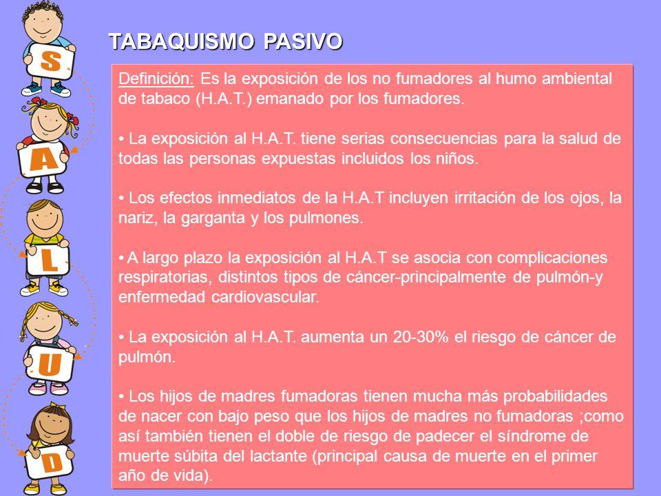 TABAQUISMO PASIVO Definición: Es la exposición de los no fumadores al humo ambiental de tabaco (H.A.T.) emanado por los fumadores. La exposición al H.
