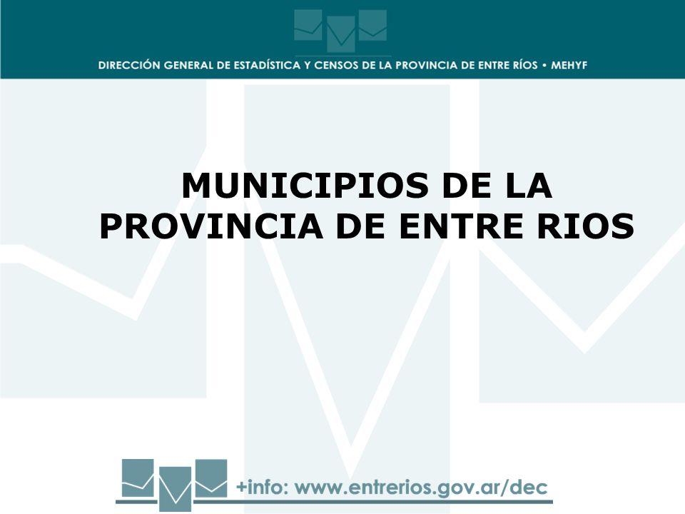 MUNICIPIOS DE LA PROVINCIA DE ENTRE RIOS