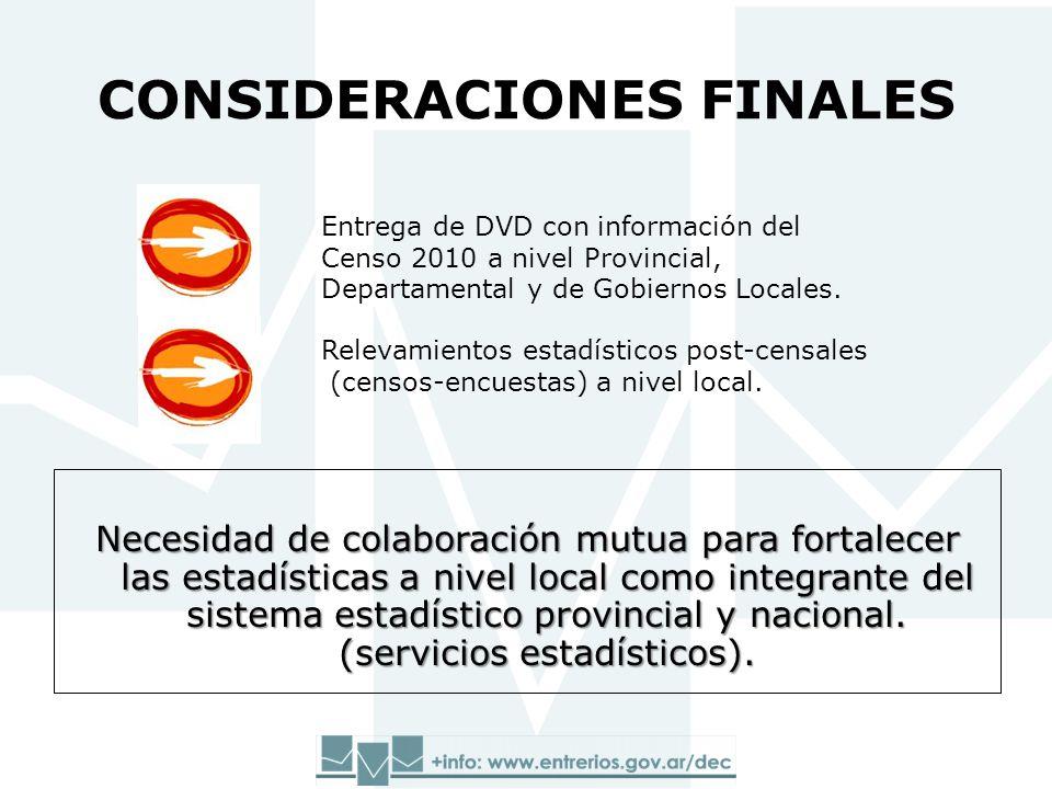CONSIDERACIONES FINALES Necesidad de colaboración mutua para fortalecer las estadísticas a nivel local como integrante del sistema estadístico provincial y nacional.