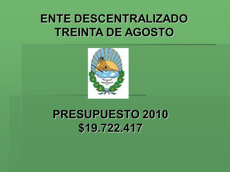 ENTE DESCENTRALIZADOMUNICIPALIDAD DE ENTE DESCENTRALIZADOMUNICIPALIDAD DE TREINTA DE AGOSTO TRENQUE LAUQUEN TREINTA DE AGOSTO TRENQUE LAUQUEN Presupuesto 2010: Cálculo de Recursos * El 69% se reparte entre las 2 tasas más importantes: - Red Vial ($4.016.700) y - A/L/CVP $1.053.160) * El 22% por: - Contrib.
