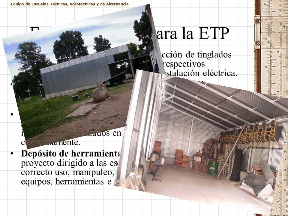 Equipo de Escuelas Técnicas, Agrotécnicas y de Alternancia Fondo Nacional para la ETP Depósito de Agroquímicos: construcción de tinglados para 6 escue