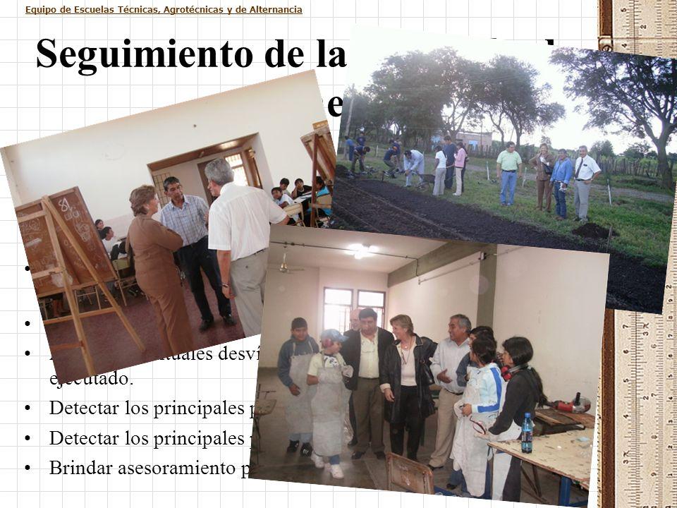 Equipo de Escuelas Técnicas, Agrotécnicas y de Alternancia Seguimiento de la ejecución de planes Durante el presente año, con la constitución de la Un