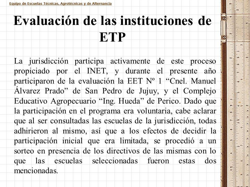 Equipo de Escuelas Técnicas, Agrotécnicas y de Alternancia Evaluación de las instituciones de ETP La jurisdicción participa activamente de este proces