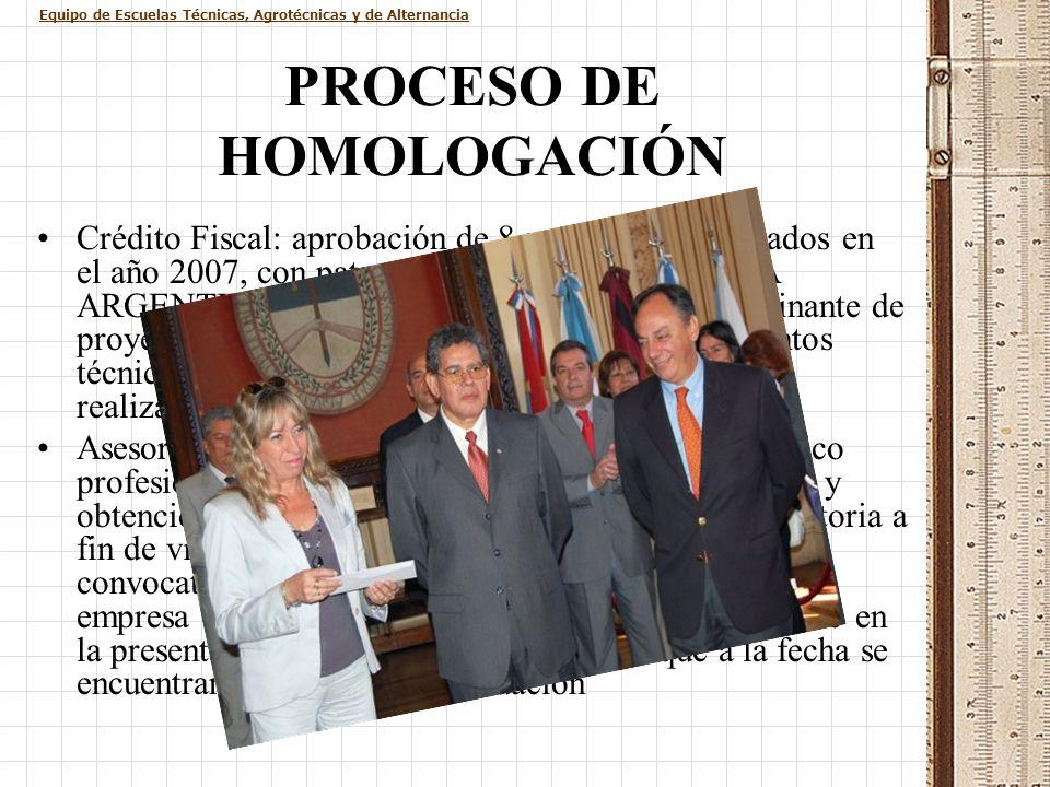 Equipo de Escuelas Técnicas, Agrotécnicas y de Alternancia PROCESO DE HOMOLOGACIÓN Crédito Fiscal: aprobación de 8 proyectos presentados en el año 200