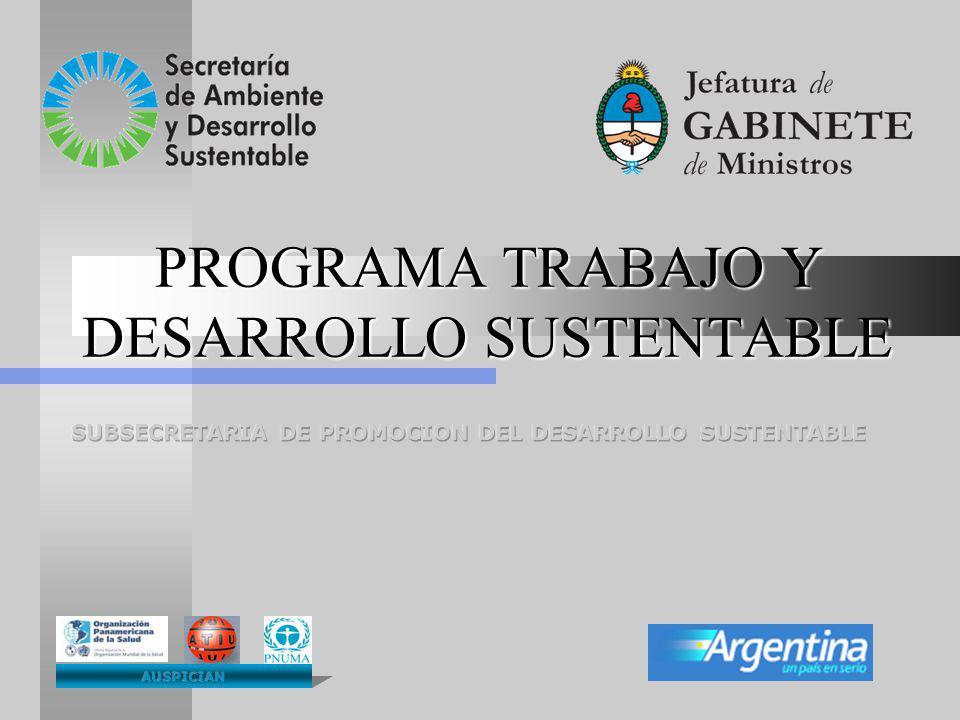 PROGRAMA TRABAJO Y DESARROLLO SUSTENTABLE PROGRAMA TRABAJO Y DESARROLLO SUSTENTABLE
