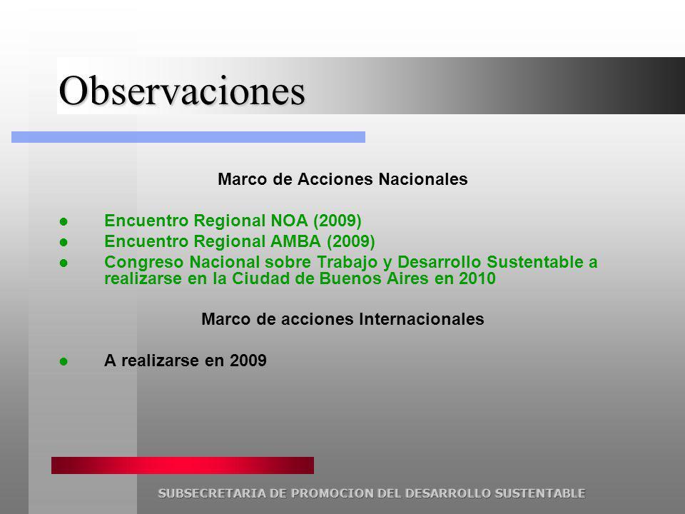 Observaciones Marco de Acciones Nacionales Encuentro Regional NOA (2009) Encuentro Regional AMBA (2009) Congreso Nacional sobre Trabajo y Desarrollo Sustentable a realizarse en la Ciudad de Buenos Aires en 2010 Marco de acciones Internacionales A realizarse en 2009