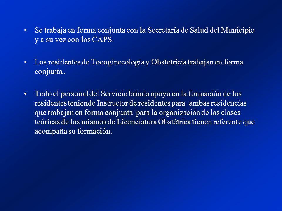 Se trabaja en forma conjunta con la Secretaría de Salud del Municipio y a su vez con los CAPS.
