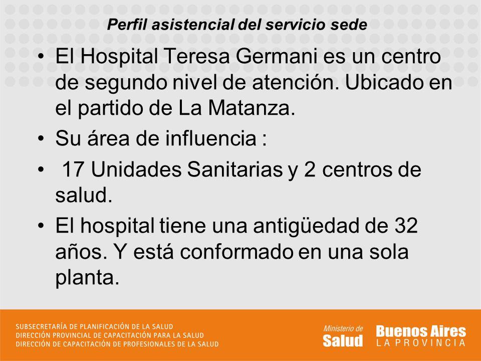 Perfil asistencial del servicio sede El Hospital Teresa Germani es un centro de segundo nivel de atención. Ubicado en el partido de La Matanza. Su áre