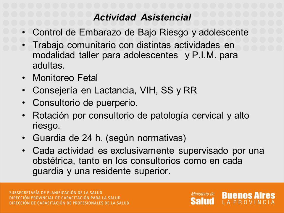 Control de Embarazo de Bajo Riesgo y adolescente Trabajo comunitario con distintas actividades en modalidad taller para adolescentes y P.I.M. para adu