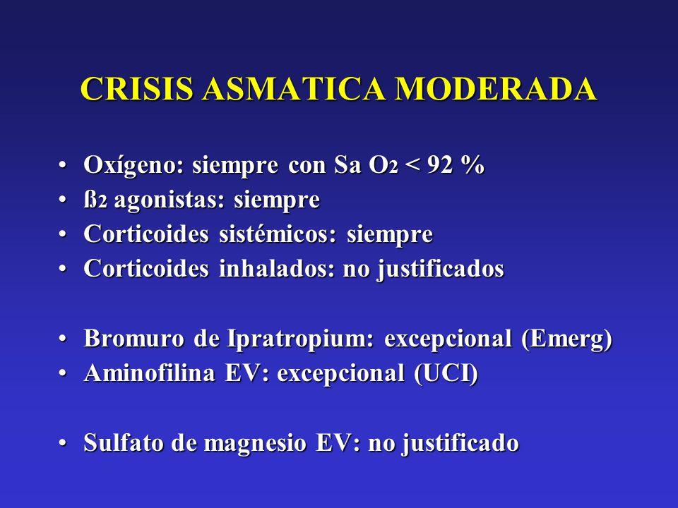 CRISIS ASMATICA MODERADA Oxígeno: siempre con Sa O 2 < 92 %Oxígeno: siempre con Sa O 2 < 92 % ß 2 agonistas: siempreß 2 agonistas: siempre Corticoides