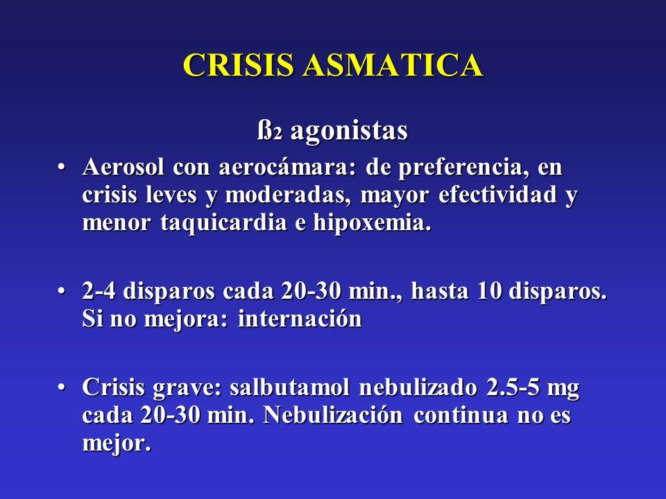 CRISIS ASMATICA ß 2 agonistas Aerosol con aerocámara: de preferencia, en crisis leves y moderadas, mayor efectividad y menor taquicardia e hipoxemia.A