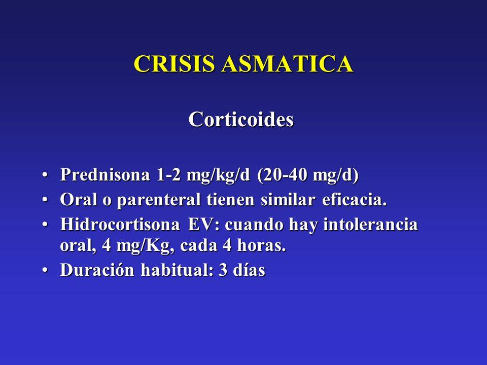 CRISIS ASMATICA Corticoides Prednisona 1-2 mg/kg/d (20-40 mg/d)Prednisona 1-2 mg/kg/d (20-40 mg/d) Oral o parenteral tienen similar eficacia.Oral o pa