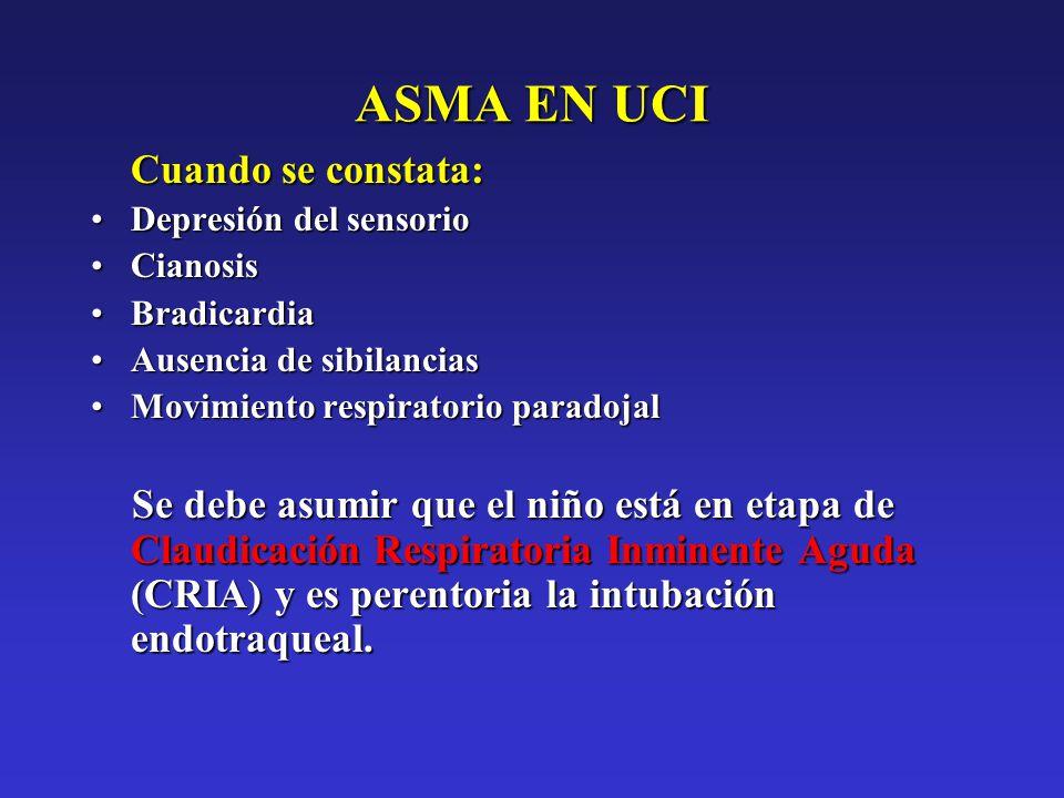 ASMA EN UCI Cuando se constata: Depresión del sensorioDepresión del sensorio CianosisCianosis BradicardiaBradicardia Ausencia de sibilanciasAusencia d