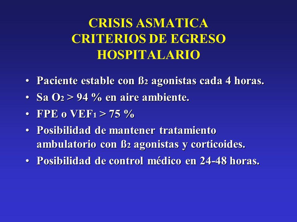 CRISIS ASMATICA CRITERIOS DE EGRESO HOSPITALARIO Paciente estable con ß 2 agonistas cada 4 horas.Paciente estable con ß 2 agonistas cada 4 horas. Sa O