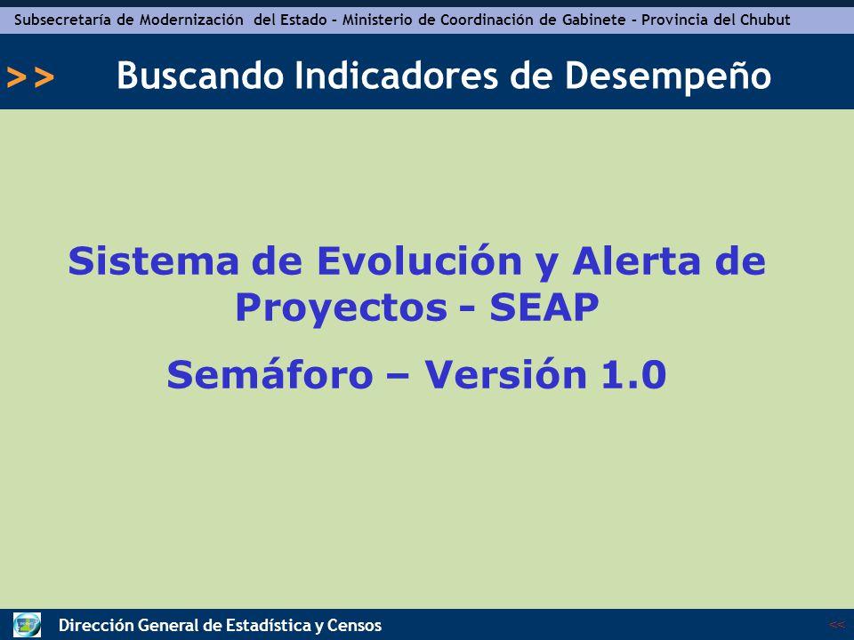 Subsecretaría de Modernización del Estado – Ministerio de Coordinación de Gabinete – Provincia del Chubut << >> Dirección General de Estadística y Censos Temario Resumen ideas principales ¿Por qué utilizar SEAP.