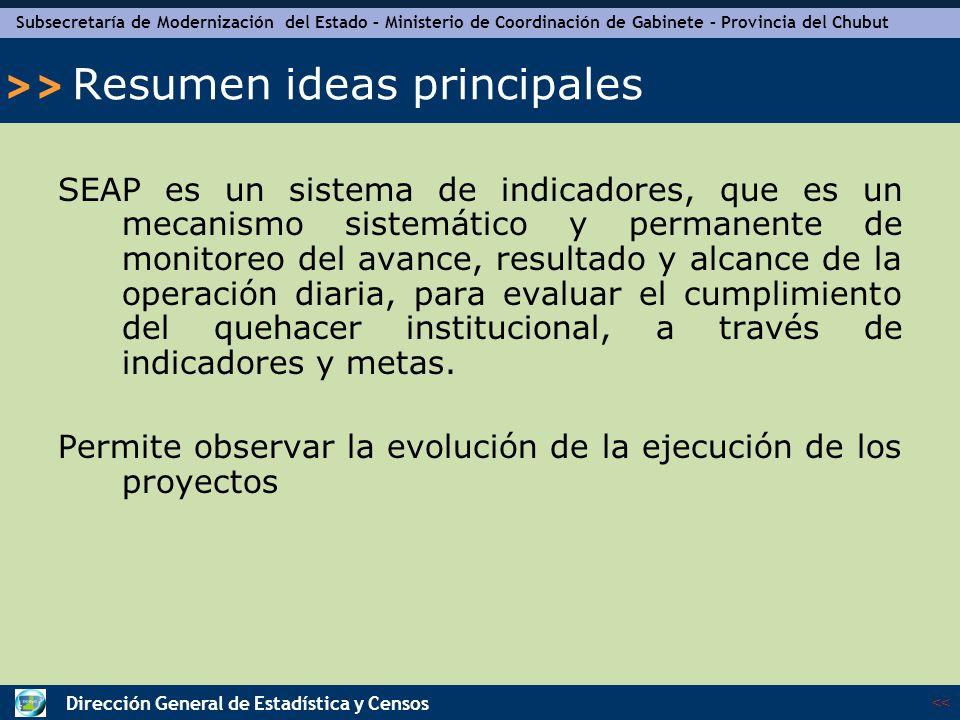 Subsecretaría de Modernización del Estado – Ministerio de Coordinación de Gabinete – Provincia del Chubut << >> Dirección General de Estadística y Censos Explicación del Sistema - continuación Cálculo: Indica en porcentaje, el cumplimiento del objetivo en el período.