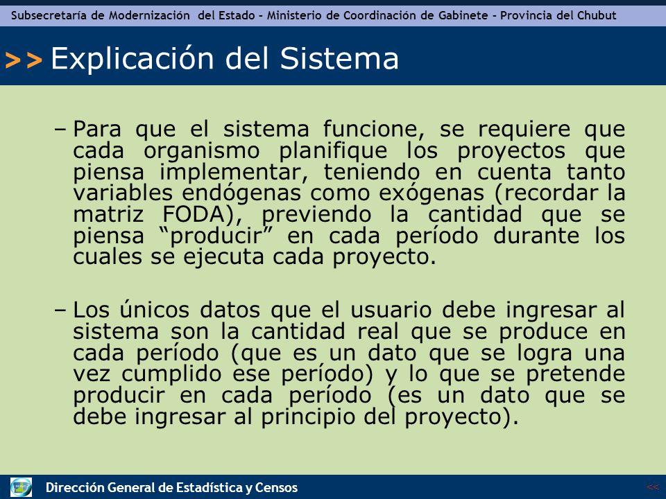 Subsecretaría de Modernización del Estado – Ministerio de Coordinación de Gabinete – Provincia del Chubut << >> Dirección General de Estadística y Censos Explicación del Sistema – Vista del SEAP Esta es la vista que aparece una vez abierto el archivo.