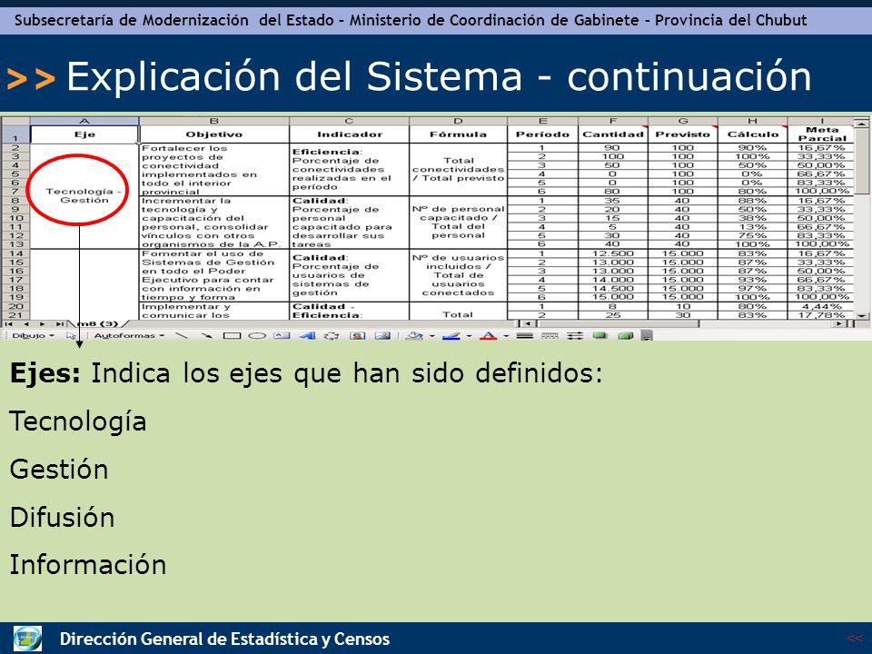 Subsecretaría de Modernización del Estado – Ministerio de Coordinación de Gabinete – Provincia del Chubut << >> Dirección General de Estadística y Censos Explicación del Sistema - continuación Objetivo: Indica los objetivos que fueron consensuados y en los cuales deben enmarcarse los proyectos.