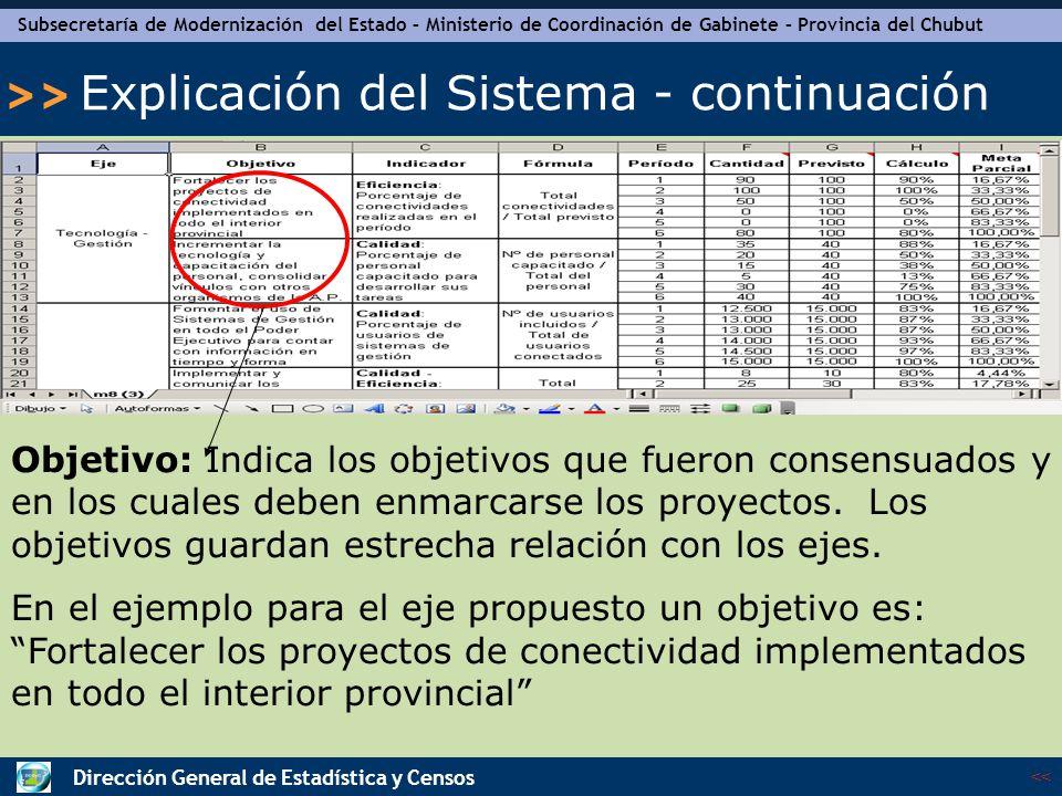 Subsecretaría de Modernización del Estado – Ministerio de Coordinación de Gabinete – Provincia del Chubut << >> Dirección General de Estadística y Censos Explicación del Sistema - continuación Indicador: Muestra los indicadores propuestos.