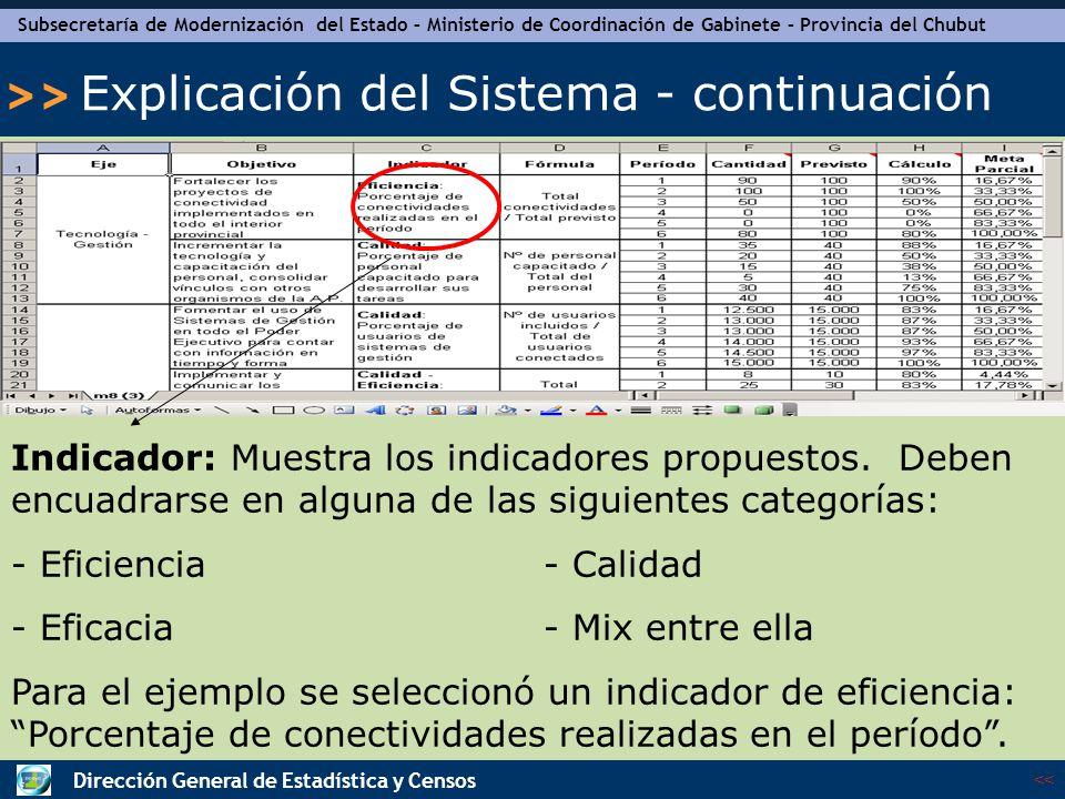 Subsecretaría de Modernización del Estado – Ministerio de Coordinación de Gabinete – Provincia del Chubut << >> Dirección General de Estadística y Censos Explicación del Sistema - continuación Fórmula: Muestra la fórmula del indicador.